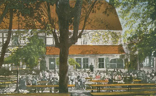 historische Biergartenansicht