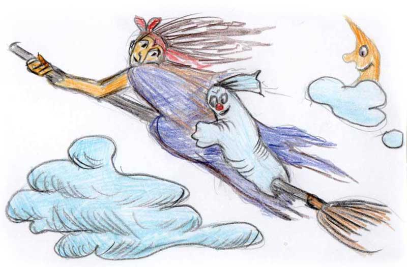 Hexe mit Mühlengeist Muki